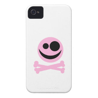 Pale Pink Skull and Crossbones. Pink and Black. iPhone 4 Case