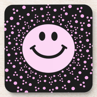 Pale Pink Smiley Face + polka dots Square Coaster