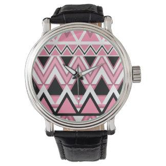 Pale Pink Tribal Pattern Wristwatch