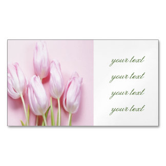 pale pink tulips,digital modern photo,pattern,chic magnetic business cards