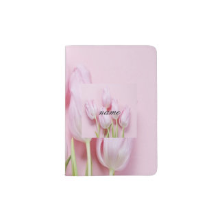 pale pink tulips,digital modern photo,pattern,chic passport holder