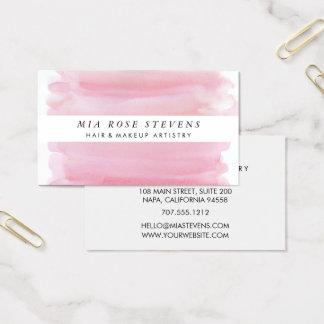 Pale Pink Watercolor & White Stripe