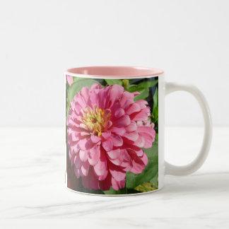 Pale Pink Zinnia Two-Tone Coffee Mug