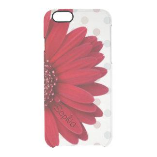 Pale Polka Dot Red Daisy Custom Name iPhone 6 Plus Case
