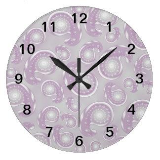 Pale Purple and Gray Paisley Pattern Large Clock