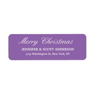 Pale Purple Merry Christmas Message Family Sheet Return Address Label