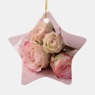 pale roses on pink swirls star ornament