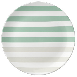 Pale Sage and Mint Stripes Plate