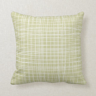 Pale Sage Green Modern Abstract  Weave Pattern Cushion