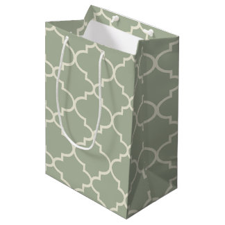 Pale Sage Green Moroccan Quatrefoil Gift Bag