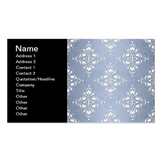Pale Silvery Blue Damask Business Cards