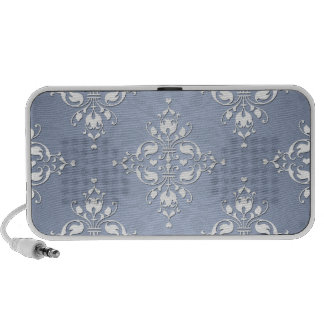 Pale Silvery Blue Damask Mp3 Speakers