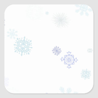 Pale Snowflakes Square Stickers