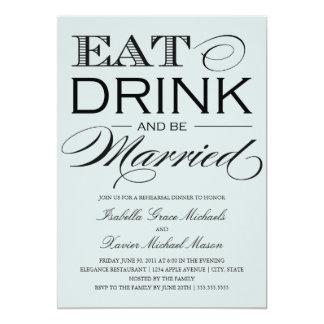 Pale Stone Eat, Drink | Rehearsal Dinner 13 Cm X 18 Cm Invitation Card
