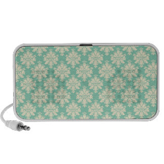 Pale teal and cream damask iPod speaker
