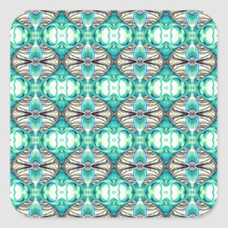 Pale Teal and Peach Fancy Diamond Pattern Square Stickers
