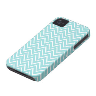 Pale teal aqua whimsical zigzag chevron pattern iPhone 4 Case-Mate cases