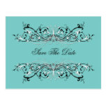 Pale Teal Black White Swirls Save The Date