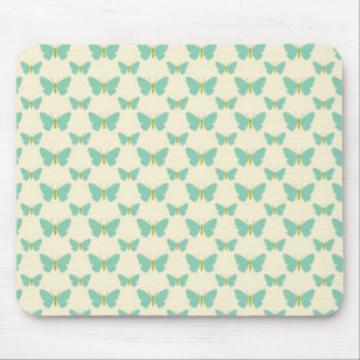 Pale teal green and cream butterflies mousepads