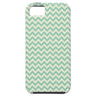 Pale teal green and cream chevron iPhone 5 cases