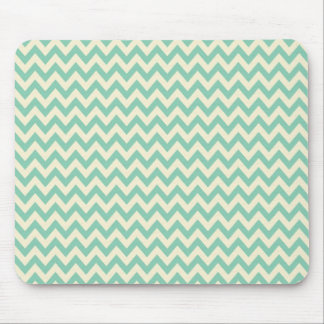 Pale teal green and cream chevron mouse pad