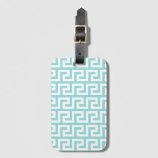 Pale Turquoise Greek Key Baggage Labels Luggage Tag