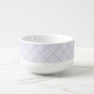 Pale Violet and Silver Geometric Pattern Soup Mug