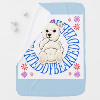 Pale White Teddy Bear Throw Blanket Pramblanket