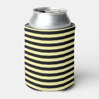 Pale Yellow and Black Stripes Can Cooler