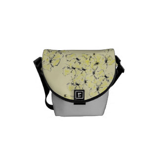 Pale Yellow and Ink Sketch Summer Wild Flowers Messenger Bags