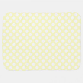 Pale Yellow and White Polka Dots Baby Blanket