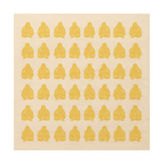 Pale Yellow Asian Moods Buddah Boys Wood Wall Art