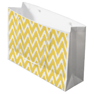 Pale Yellow Asian Moods Ikat Chevrons Large Gift Bag