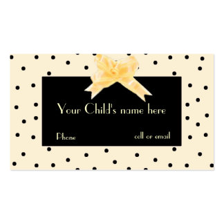 Pale Yellow & Black Girl's Play Date Card Pack Of Standard Business Cards
