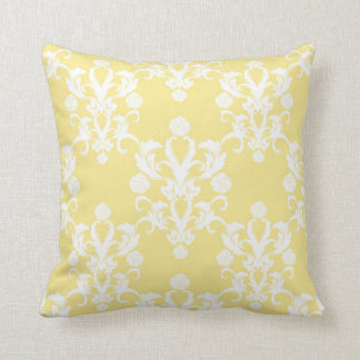 Pale Yellow Damask Vintage Style Shabby Cushion