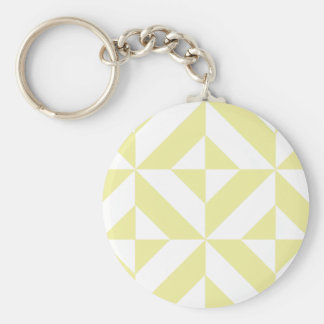 Pale Yellow Geometric Deco Cube Pattern Keychains