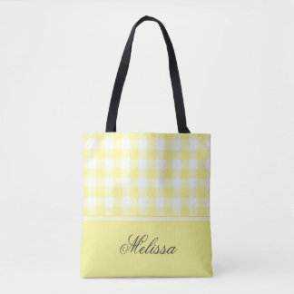 Pale Yellow Gingham   Personalized Tote Bag