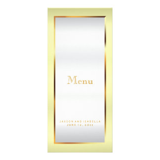 Pale Yellow, Gold and White Satin - Menu