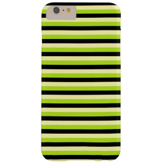 Pale Yellow, Lime Green and Black Stripes Barely There iPhone 6 Plus Case