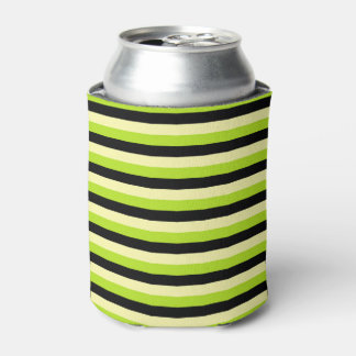 Pale Yellow, Lime Green and Black Stripes Can Cooler