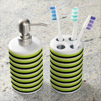 Pale Yellow, Lime Green and Black Stripes Soap Dispenser And Toothbrush Holder
