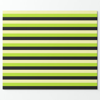 Pale Yellow, Lime Green and Black Stripes Wrapping Paper