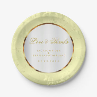 Pale Yellow Marble, Gold and White Satin Paper Plate