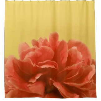 Pale Yellow Peach Floral Shower Curtain