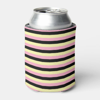 Pale Yellow, Pink and Black Stripes Can Cooler
