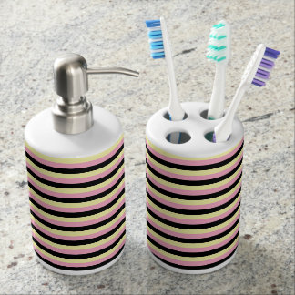 Pale Yellow, Pink and Black Stripes Soap Dispenser And Toothbrush Holder