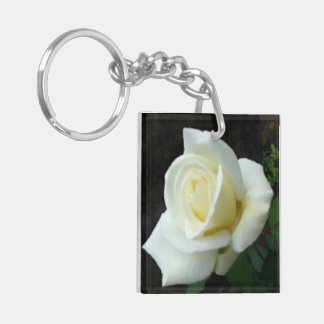 Pale Yellow Rose Bud Bloom Flower Double-Sided Square Acrylic Key Ring