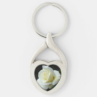 Pale Yellow Rose Bud Bloom Flower Silver-Colored Twisted Heart Key Ring