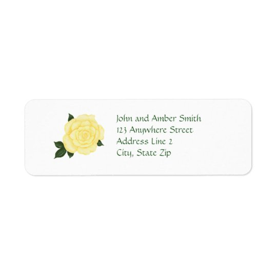 Pale Yellow Rose Return Address Labels