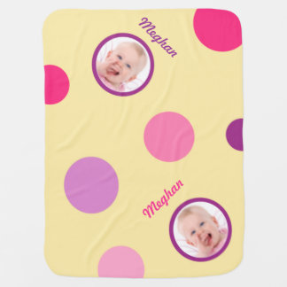 Pale Yellow with Pink and Purple Polka Dots Photo Pramblanket
